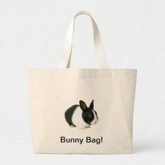Bunny Rabbit Canvas Bag Black & White