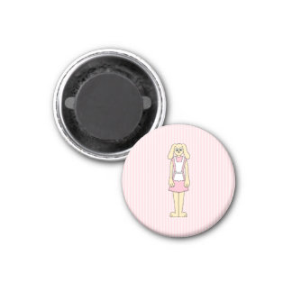 Bunny Rabbit Cartoon, wearing Pink and White. 1 Inch Round Magnet