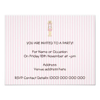 Bunny Rabbit Cartoon, wearing Pink and White. 4.25x5.5 Paper Invitation Card