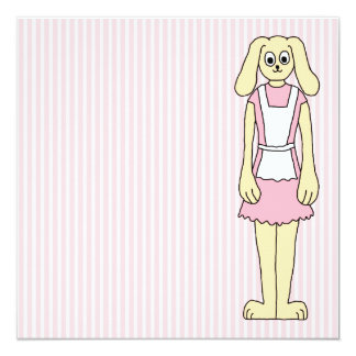 Bunny Rabbit Cartoon, wearing Pink and White. Personalized Announcement