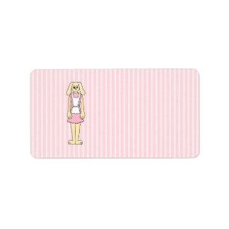 Bunny Rabbit Cartoon, wearing Pink and White. Address Label