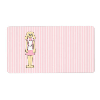 Bunny Rabbit Cartoon, wearing Pink and White. Shipping Label