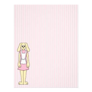 Bunny Rabbit Cartoon, wearing Pink and White. Letterhead Design