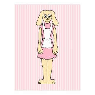 Bunny Rabbit Cartoon, wearing Pink and White. Postcard