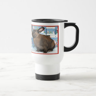 Bunny Rabbit Chritmas with Snowman Holiday Boxes 15 Oz Stainless Steel Travel Mug