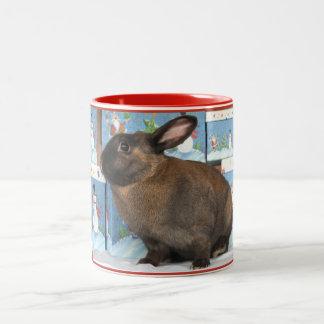 Bunny Rabbit Chritmas with Snowman Holiday Boxes Two-Tone Coffee Mug