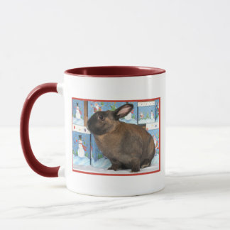 Bunny Rabbit Chritmas with Snowman Holiday Boxes Mug
