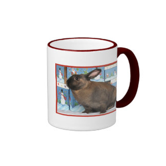 Bunny Rabbit Chritmas with Snowman Holiday Boxes Ringer Coffee Mug