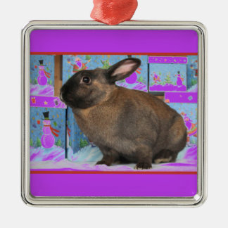 Bunny Rabbit Chritmas with Snowman Holiday Boxes Square Metal Christmas Ornament