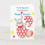 Bunny Rabbit Cute Kids Personalized Easter Egg Holiday Card