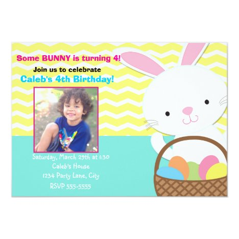 Bunny Rabbit Easter Birthday Photo Invitation
