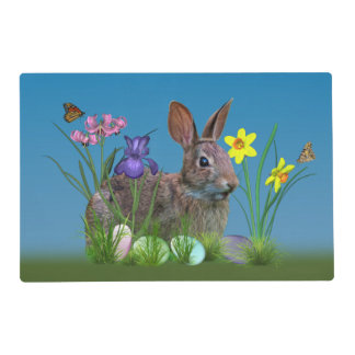 Bunny Rabbit,  Easter Eggs, Flowers Placemat