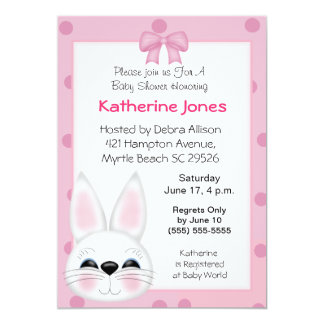 Bunny Rabbit  Face Baby Shower Card