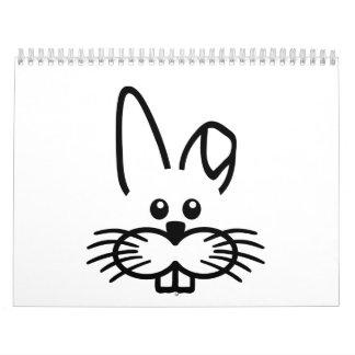 Bunny rabbit face calendar
