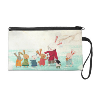 Bunny Rabbit Family - Lovely Watercolor Painting Wristlet Purse