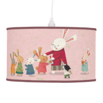 Bunny Rabbit Family - Lovely Watercolor (Pink) Hanging Lamp