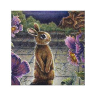 Bunny Rabbit & Flowers Night Dreaming Fantasy Canvas Prints