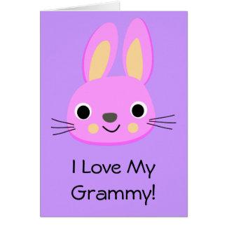 Bunny Rabbit I Love My Grammy Custom Name Birthday Card