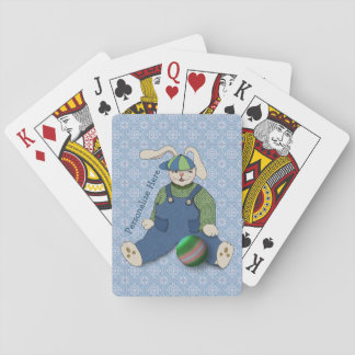 Bunny Rabbit in Blue Overalls Personalized Playing Cards