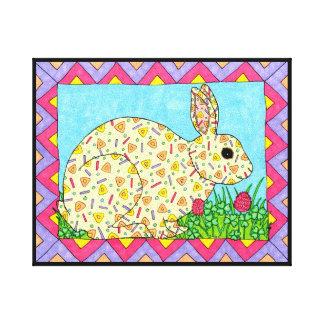 Bunny Rabbit in Clover Oaxacan Style Folk Art Canvas Print