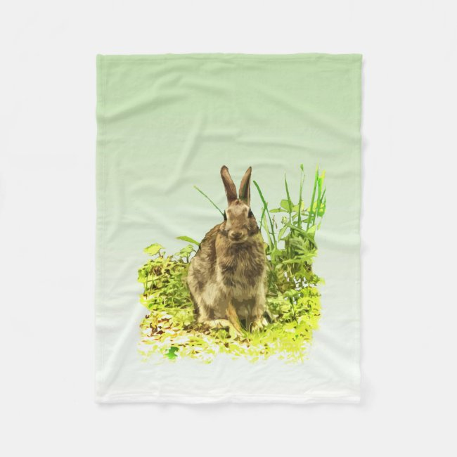Bunny Rabbit in Grass Fleece Blanket