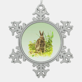 Bunny Rabbit In Grass Pewter Snowflake Ornament at Zazzle