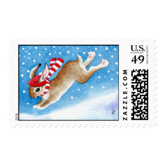 Bunny Rabbit in Snow postage stamp
