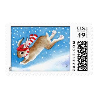 Bunny Rabbit in Snow postage stamp