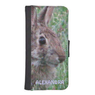 Bunny Rabbit In Wildflowers Custom Personalized iPhone 5 Wallet Case