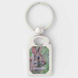 Bunny Rabbit In Wildflowers Personalized Key Ring Silver-Colored Rectangular Metal Keychain