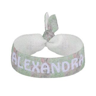 Bunny Rabbit In Wildflowers Personalized Scrunchy Ribbon Hair Tie