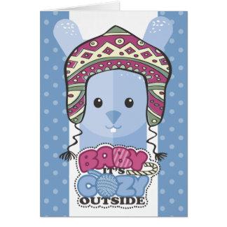 Bunny rabbit knitting crochet hat yarn Christmas Card