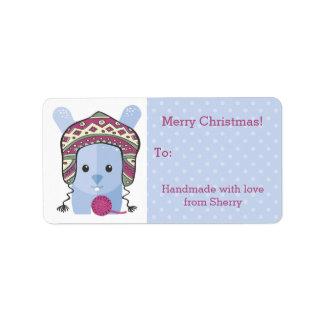 Bunny rabbit knitting crochet hat yarn Christmas Custom Address Labels