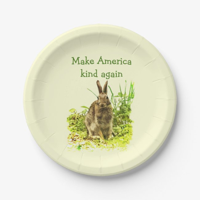 Bunny Rabbit Make America Kind Again Paper Plates