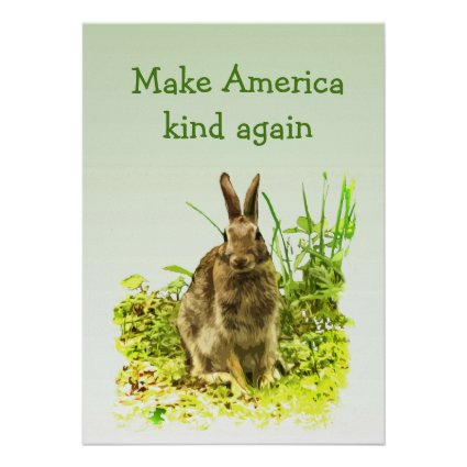 Bunny Rabbit Make America Kind Again Poster