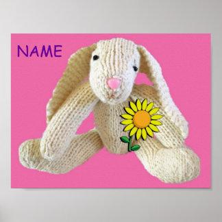 Bunny Rabbit personalised poster birthday
