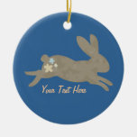 Bunny Rabbit (personalized) Double-Sided Ceramic Round Christmas Ornament