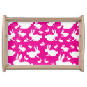 Bunny Rabbit Pink and White Serving Tray