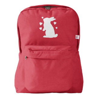 Bunny Rabbit Playing with Hearts Backpack