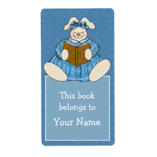 Bunny Rabbit Reading in Blue Dress Bookplate