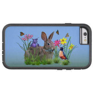 Bunny Rabbit,  Robin, and Flowers, Customizable Tough Xtreme iPhone 6 Case