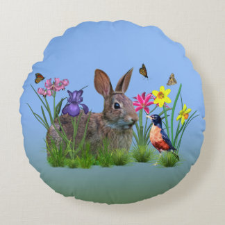 Bunny Rabbit,  Robin, and Flowers, Customizable Round Pillow
