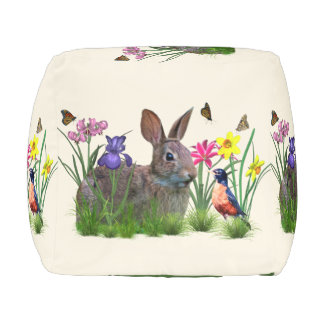 Bunny Rabbit,  Robin, and Flowers, Customizable Cube Pouf