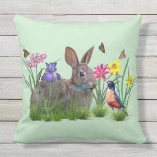Bunny Rabbit,  Robin, and Flowers. Customizable Outdoor Pillow