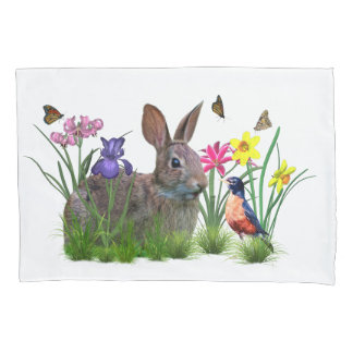 Bunny Rabbit,  Robin, and Flowers, Customizable Pillow Case