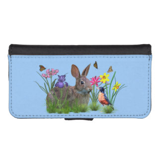 Bunny Rabbit,  Robin, and Flowers, Customizable iPhone 5 Wallet Cases