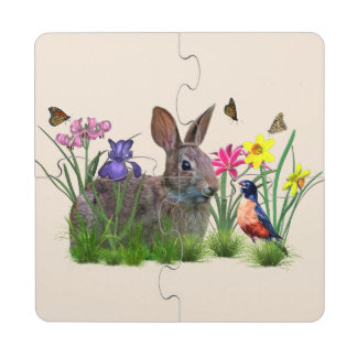 Bunny Rabbit,  Robin, and Flowers, Customizable Puzzle Coaster