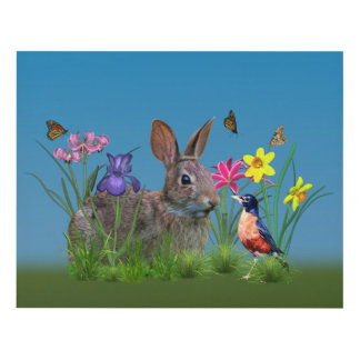 Bunny Rabbit,  Robin, and Flowers Panel Wall Art