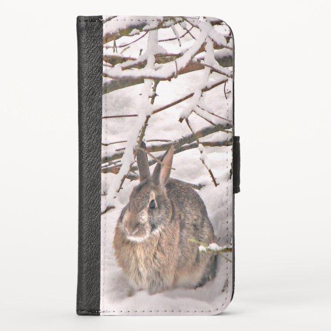 Bunny Rabbit Seeking Shelter iPhone X Wallet Case