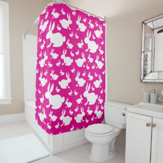 Bunny Shower Curtain - Pink and White